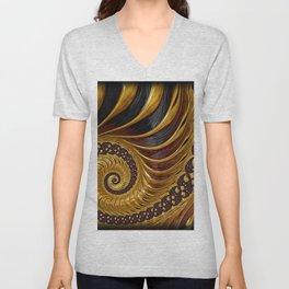 Gold Metallic Swirling Conch Shell Fractal Design Unisex V-Neck