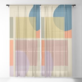 Modern geometric shapes Sheer Curtain