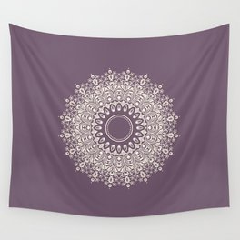 Mandala in Mulberry and White Wall Tapestry