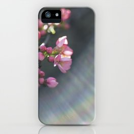 Rainbow with pink blossom iPhone Case