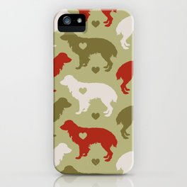 Valentine's dog surface pattern (green-red) iPhone Case