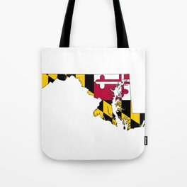 Map of Maryland with Maryland State Flag Tote Bag
