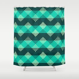 Green strips and geometric abstract pattern Shower Curtain