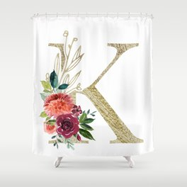 """K"" Initial, Monogram in Gold and Flowers Shower Curtain"