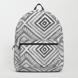 Tribal Geometric Watercolor Pattern - Grayscale Backpack