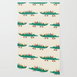 Crocodile on Roller Skates Wallpaper
