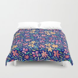 Clementine and Coral Watercolor Floral Dark Duvet Cover