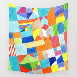 Playful Colorful Architectural Pattern Wall Tapestry