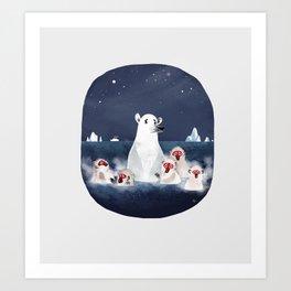 Global warming polar bear Art Print