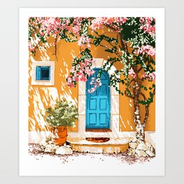 Oh The Places You Will Go, Summer Travel Spain Greece Painting, Architecture Building Bougainvillea Art Print