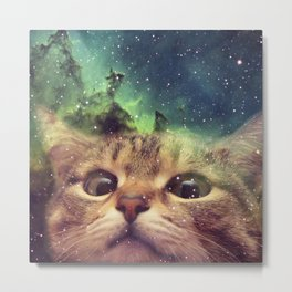 Cat Staring into Space Metal Print