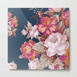 Vintage Floral on Blue Metal Print