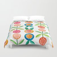 water colour Duvet Covers featuring Water colour flowers by catherineinsch