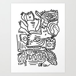 Big Mouth Monster Black and White Graffiti Street Art by Emmanuel Signorino Art Print