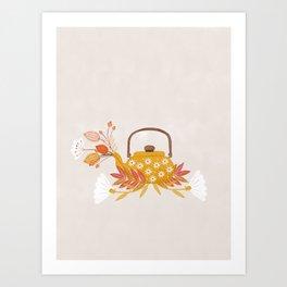 Fall Flowers Teapot Art Print