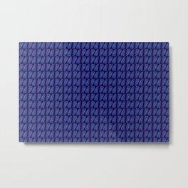 Palm Leaves Navy Blue Metal Print