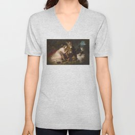 Scene from A Midsummer Night's Dream. Titania and Bottom by Edwin Henry Landseer (1848) Unisex V-Neck