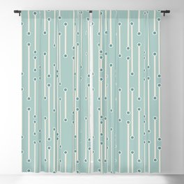 Dotted lines in cream, teal and sea foam Blackout Curtain