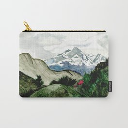 Field of flowers and mountains dreamy watercolor, landscape painting Carry-All Pouch