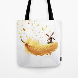 Air Feather • Yellow Feather (horizontal) Tote Bag