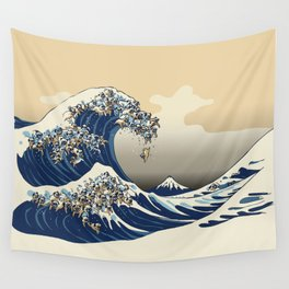The Great Wave of Pugs Vanilla Sky Wall Tapestry