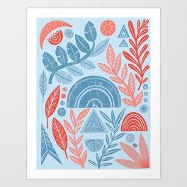 Blue Geometric Botanicals Art Print