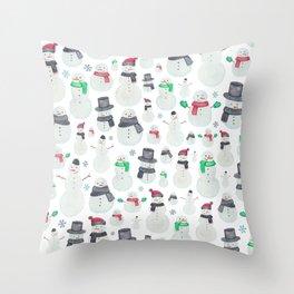 Watercolour snowmen! Throw Pillow
