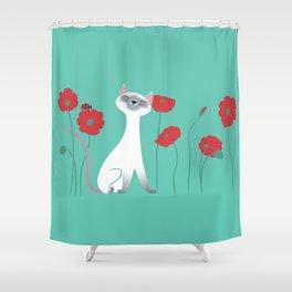 Siamese & Poppies Shower Curtain