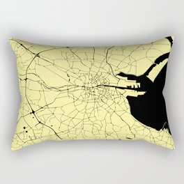 Yellow on Black Dublin Street Map Rectangular Pillow