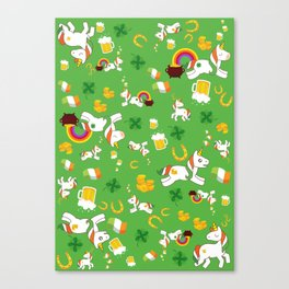 St. Patrick's Day Unicorn Pattern Canvas Print
