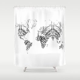 World Map by Fernanda Quilici Shower Curtain
