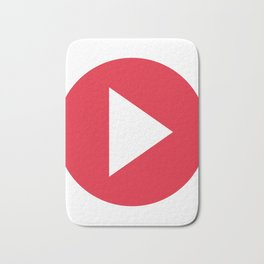 Red Video Play Button Bath Mat