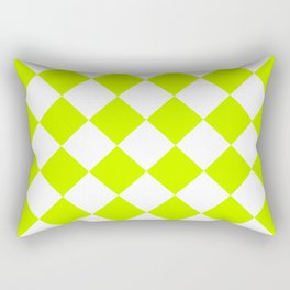 Large Diamonds - White and Fluorescent Yellow Rectangular Pillow
