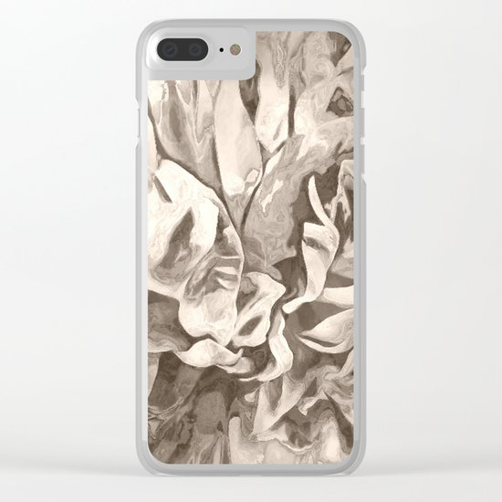 Painted Peony Sepia Cocoa Clear iPhone Case