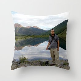 Photographer on Crystal Lake Throw Pillow