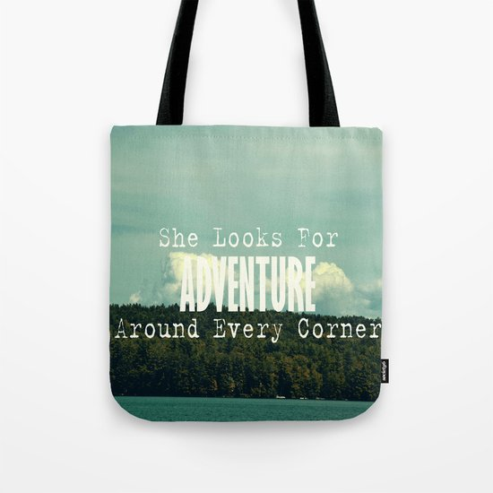 She Looks for Adventure  Tote Bag