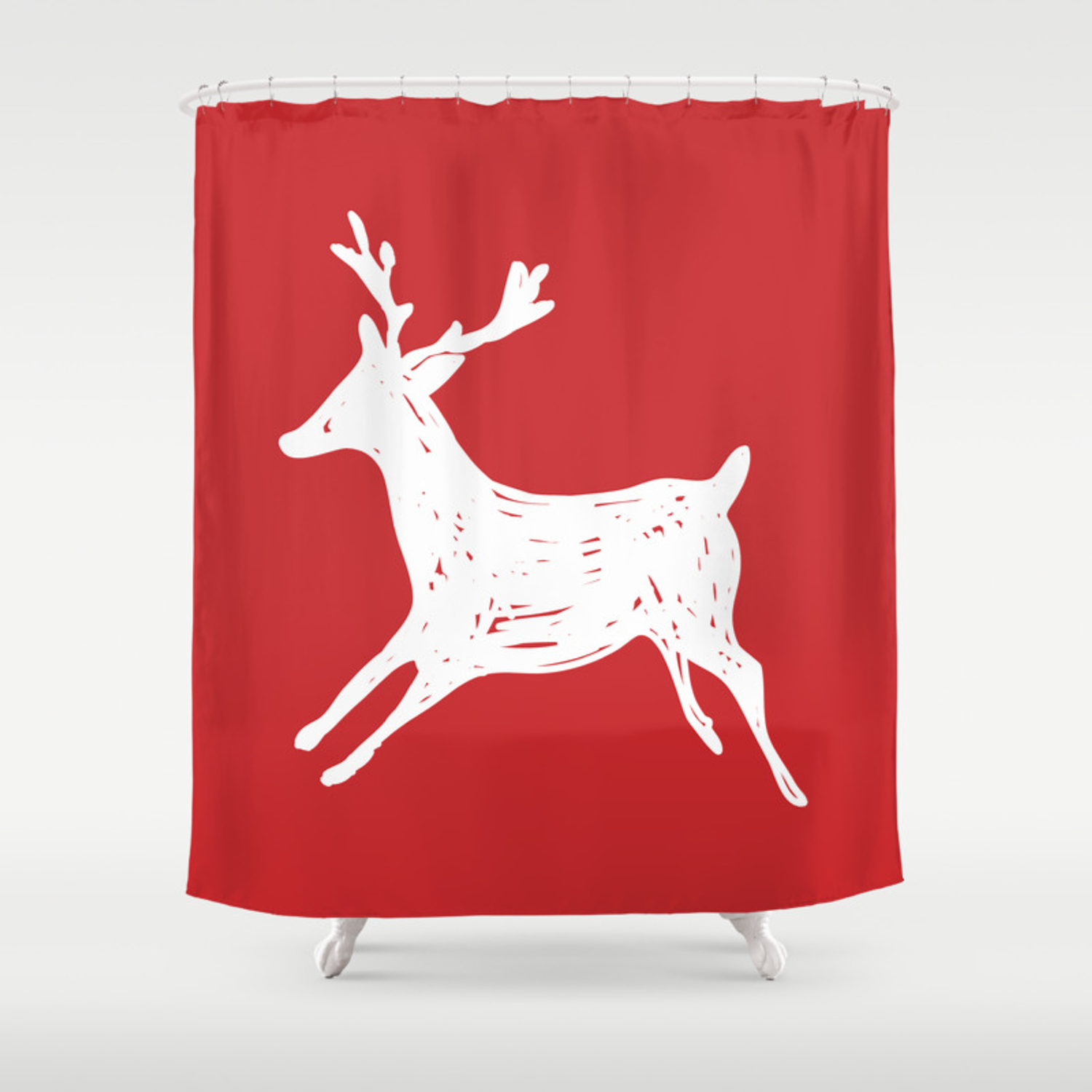 Deer Red And White Shower Curtain