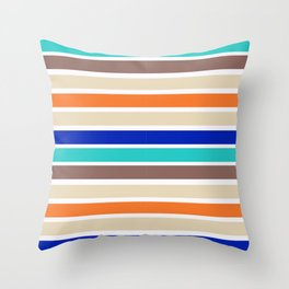 Bright multicolored horizontal stripes. Throw Pillow