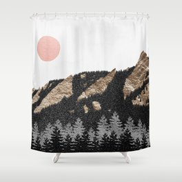 Flatirons Gold // Chautauqua Park Boulder, Colorado Abstract Landscape College Wall Decor Shower Curtain