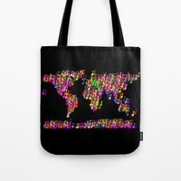 music notes Tote Bags featuring World Map Music Notes by mailboxdisco