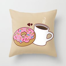 Coffee and Donut Forever Throw Pillow