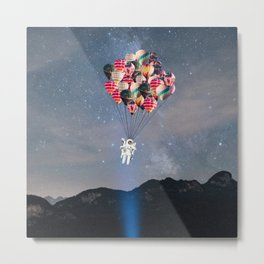 The Astronaut-Floating Away With Balloons Metal Print