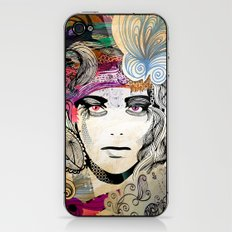 colorful floral girl iPhone & iPod Skin