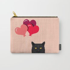 Black Cat Love balloons valentine gifts for cat lady cat people gifts ideas funny cat themed gifts Carry-All Pouch