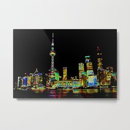 Shangai Colors Metal Print