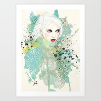 fashion illustration Art Prints featuring FASHION ILLUSTRATION 10 by Justyna Kucharska