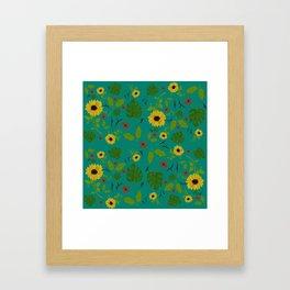 Sunflower & Monstera Leaf Framed Art Print