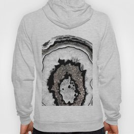Gray Black White Agate with Silver Glitter #1a #gem #decor #art #society Hoody
