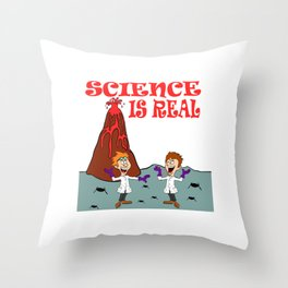 """A Real Tee For A Scientist You Saying """"Science Is Real They Might Be Giants"""" T-shirt Design Study Throw Pillow"""