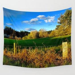 Golden Evening Light Across A Field Wall Tapestry